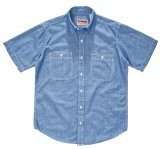 【CAMCO/カムコ・シャンブレー 半袖 ワークシャツ】 ブルー・3サイズ(S/M/L)