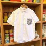 【HEP/エイチイーピー】LIFE / ファブリックポケット・オックスフォード半袖シャツ / ホワイトXグレイ 3サイズ(S/M/L)