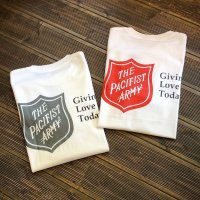 """【 オリジナルプリント L/S Tシャツ """" PACIFIST ARMY """" 】 7.1 oz コットン100% Tシャツ 2カラー(レッド/チャコールグレー)・4サイズ(S,M,L,XL)"""