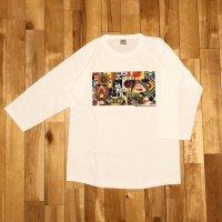 """【 オリジナルプリント 3/4 Tシャツ """" Panel Of Psychedelic """" 】ホワイト/ホワイト・5.6oz ・コットン・七分袖・ベースボール・Tシャツ 4サイズ(S,M,L,XL)"""