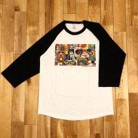 """【 オリジナルプリント 3/4 Tシャツ """" Panel Of Psychedelic """" 】ホワイト/ブラック・5.6oz ・コットン・七分袖・ベースボール・Tシャツ 4サイズ(S,M,L,XL)"""